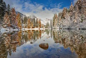Фото бесплатно зима, закат, озеро