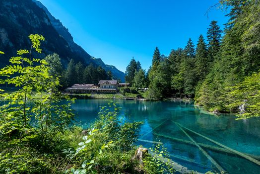 Бесплатные фото The Blue Lake,Blausee,Switzerland,Голубое озеро,Блаузее,Швейцария
