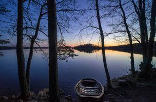 Заставки закат, озеро, деревья, Финляндия, небо, отражение, пейзаж