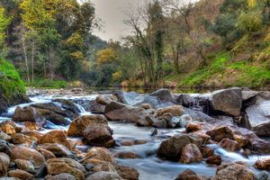 Фото бесплатно лес, деревья, камни, водопад, река, пейзаж, осень