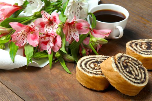 Фото бесплатно кофе, выпечка, рулет