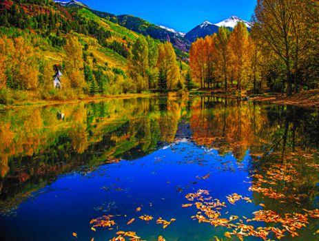 Бесплатные фото Колорадо,Теллур,пруд,дом,осень,озеро,деревья,пейзаж