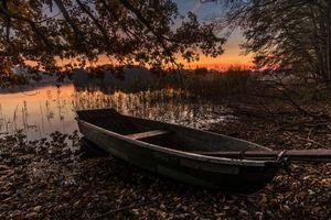 Заставки закат, озеро, лодка
