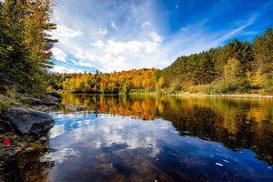 Заставки осень,лес,деревья,река,пейзаж