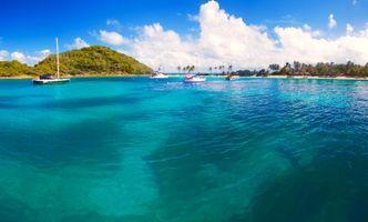 Фото бесплатно тропики, яхты, остров