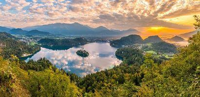 Бесплатные фото Bled,Bled Lake,Озеро Блед,Остров Блед,Словения,осень,панорама
