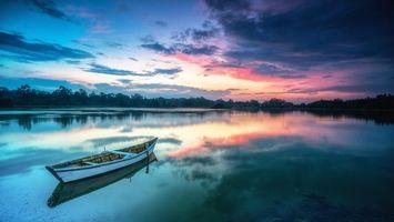 Бесплатные фото водоём,озеро,лодка,закат,берег,пейзаж