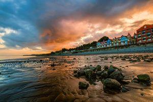 Бесплатные фото Гламорган, Penarth, Великобритания, Уэльс, закат, закат солнца, море