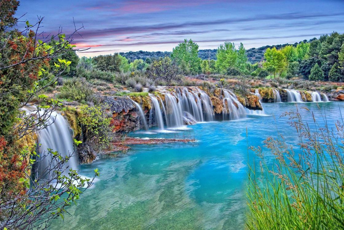 Фото бесплатно Сьюдад-Реале, Испания, Лагуны Руйдера водоём, водопад, закат, деревья, пейзаж, пейзажи