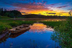 Бесплатные фото лес,небо,деревья,закат,горы,природа,озеро