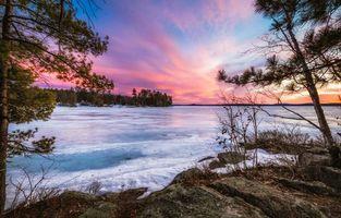 Бесплатные фото Нью-Гемпшир,Новая Англия,Lake Winnipesaukee,закат,зима,лёд,деревья