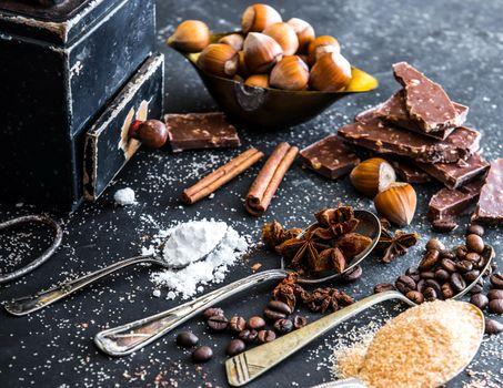 Бесплатные фото шоколад,орехи,сладкое