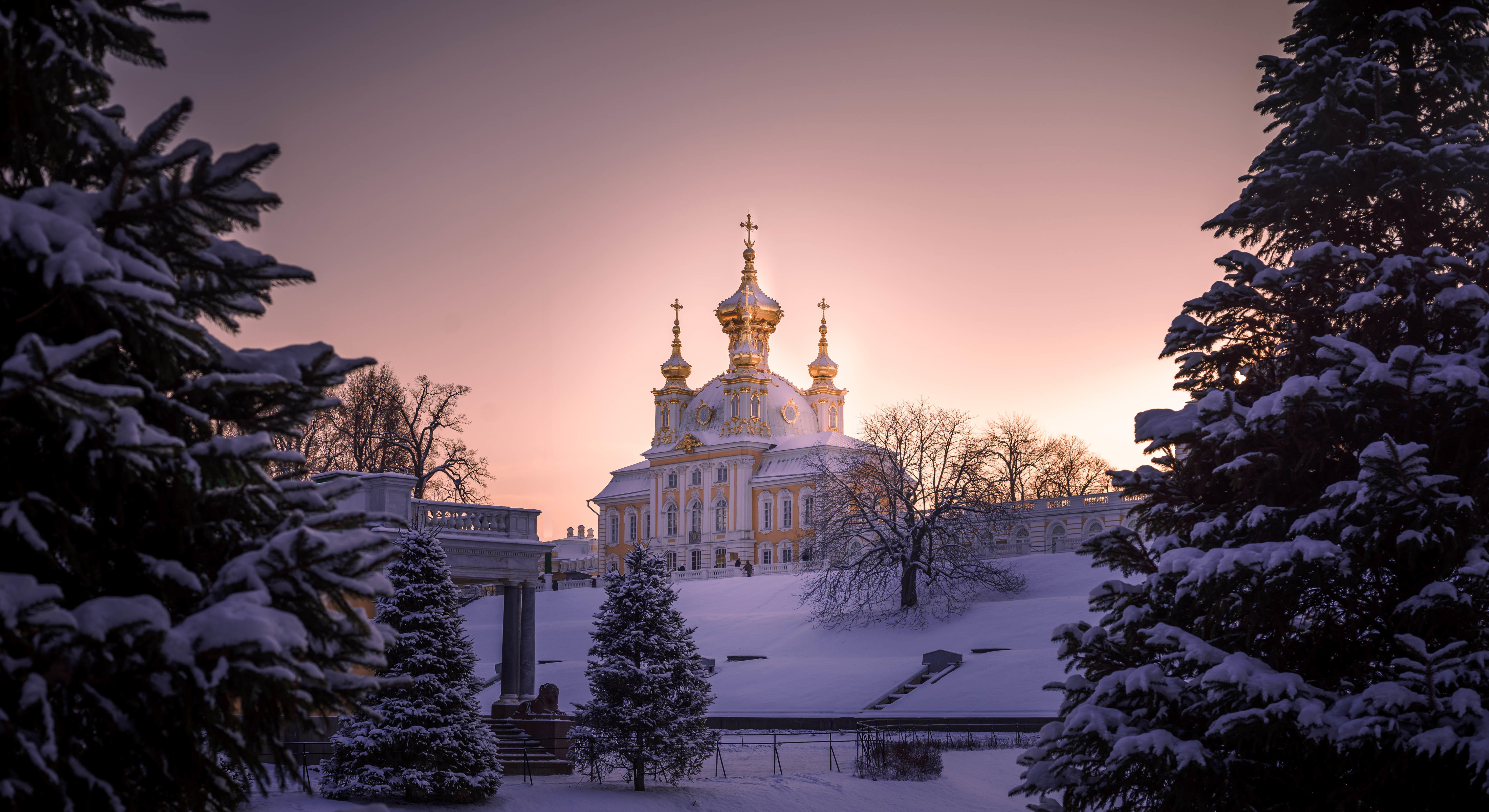 Санкт-Петербург, Россия, Европа, Петергоф, замок, парк, закат