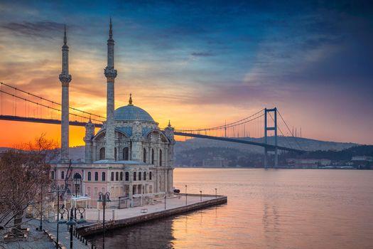 Фото бесплатно Стамбул, Мечеть Ортакой, Босфорский мост