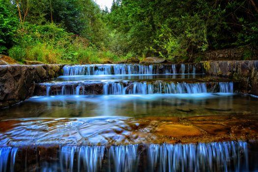 Бесплатные фото водопад,каскад,ступени,деревья,пейзаж