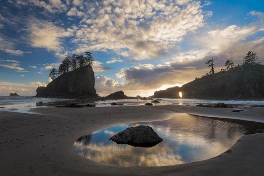 Бесплатные фото Washington,Olympic National Park,United States,закат,море,скалы,берег,пейзаж