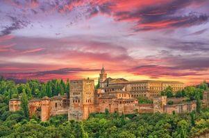 Бесплатные фото Закат в Альгамбре,Гранада,Альгамбра,Испания