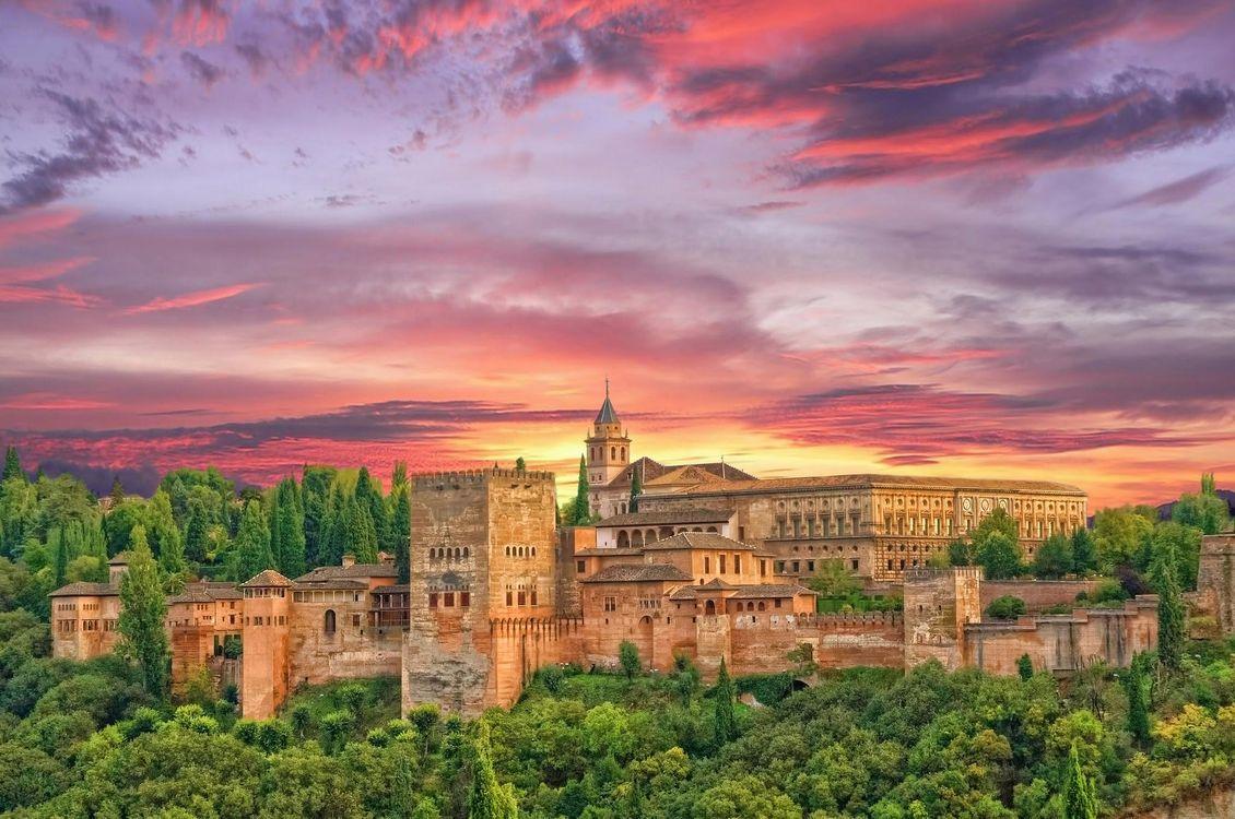 Фото бесплатно Закат в Альгамбре, Гранада, Альгамбра, Испания, город