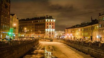 Бесплатные фото Санкт-Петербург огни города Грибоедов Канал Зима Россия