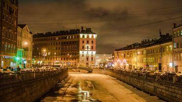 Фото бесплатно Санкт-Петербург, замерзшая река, улица