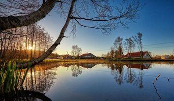Заставки Haugesund,Norway,Хеугесунн Норвегия,закат,озеро,дома,деревья