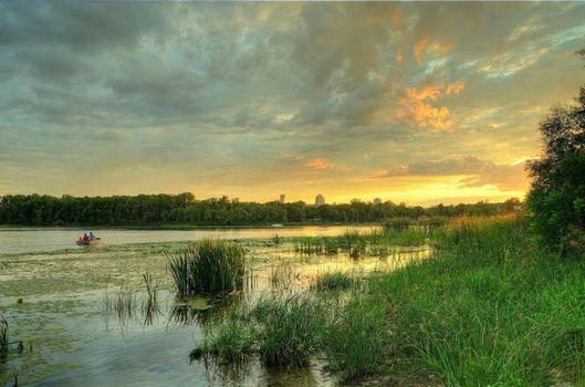 Фото бесплатно закат, деревья, днепр