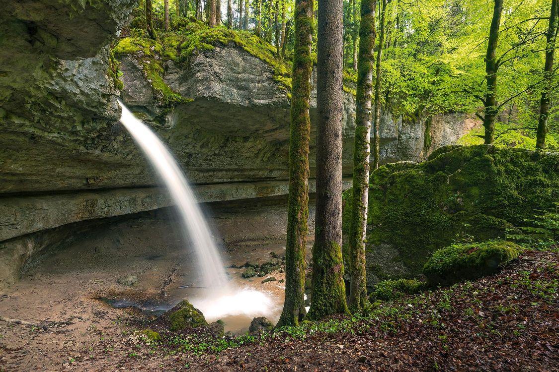 Фото бесплатно водопад, лес, деревья, скалы, природа, природа - скачать на рабочий стол