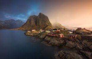 Обои Лофотенские острова, Рейн, Reine, Норвегия, Lofoten, закат, пейзаж
