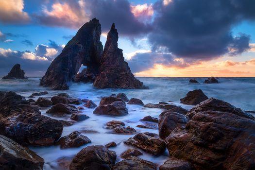 Бесплатные фото Ирландия,закат,море,скалы,волны,пейзаж