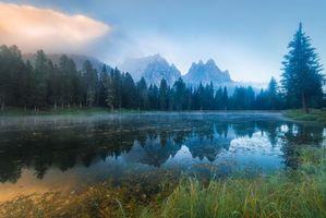 Фото бесплатно озеро, туман, горы