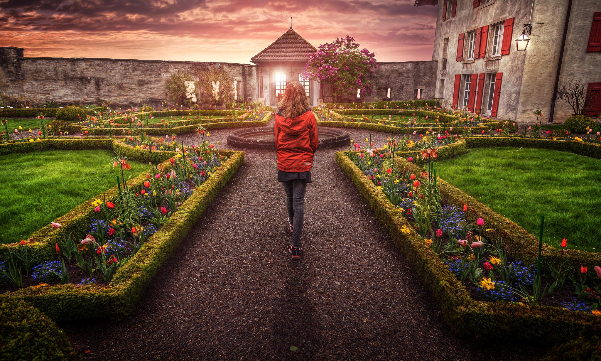 Обои Швейцария, Сад замка, природа, Цветы