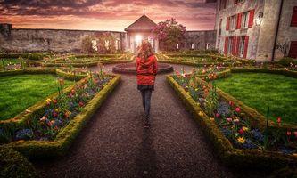 Бесплатные фото Швейцария,Сад замка,природа,Цветы,сад,замок,Вечернее настроение