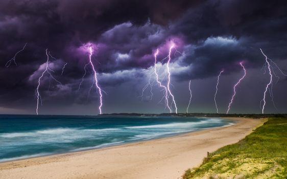 Фото бесплатно море, облака, молнии