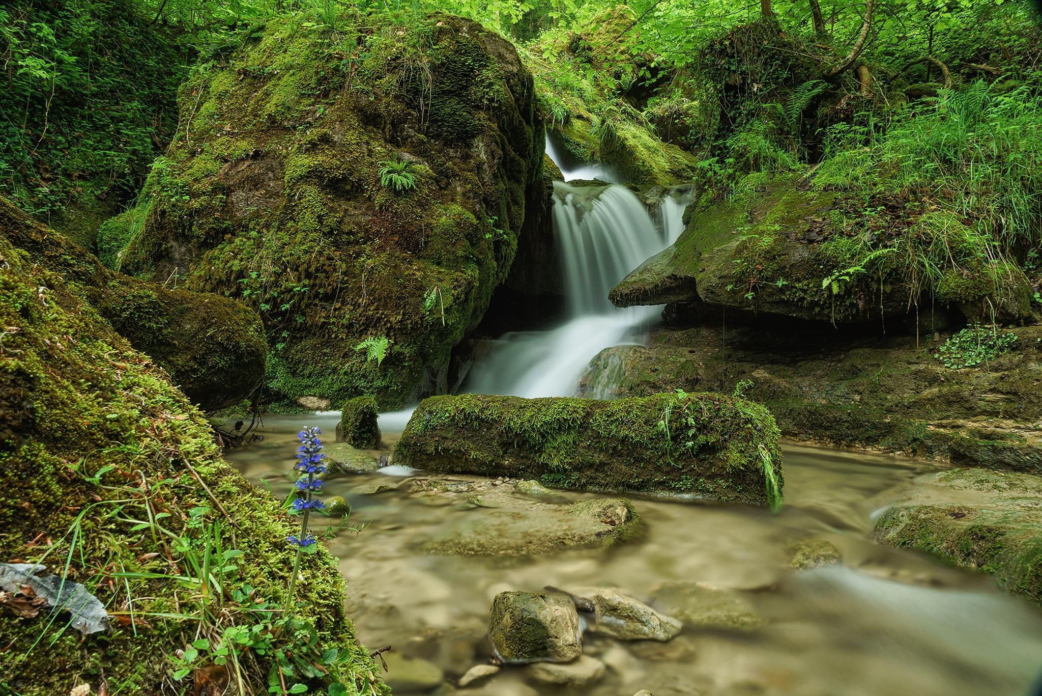 Обои речка, водопад, камни, природа
