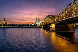 Бесплатные фото Кельн,Германия,мост,Кельнский собор,закат,город