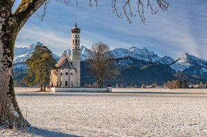 Обои Кальман, Швангау, Алльга, Bavaria, Германия, церковь церковь, Нойшванштайн, Хоэншвангау, снег, Альпы, горы, пейзаж