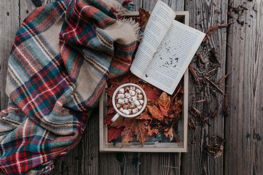 Photo free coffee, marshmallows, book