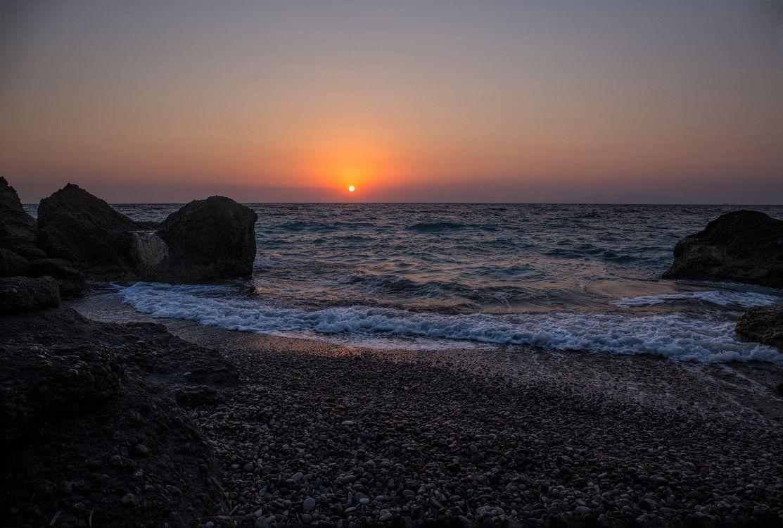 Фото бесплатно закат, море, волны - на рабочий стол