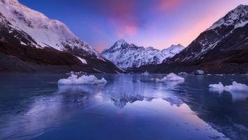 Бесплатные фото Озеро Хукер,Новая Зеландия,закат,горы,озеро,зима,пейзаж