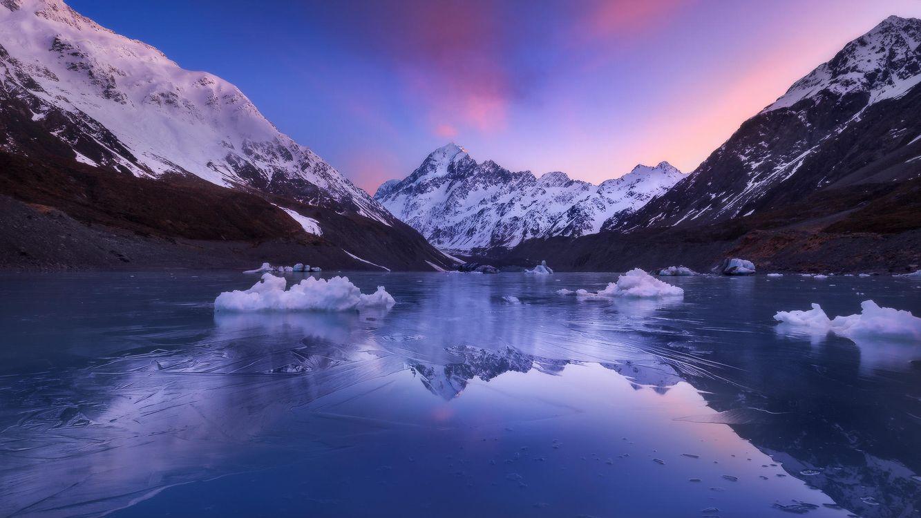 Фото бесплатно Озеро Хукер, Новая Зеландия, закат, горы, озеро, зима, пейзаж, пейзажи