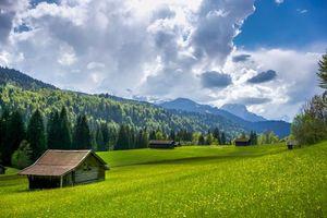 Бесплатные фото Миттенвальд,Гармиш,Германия,Альпы,поле,холмы,горы