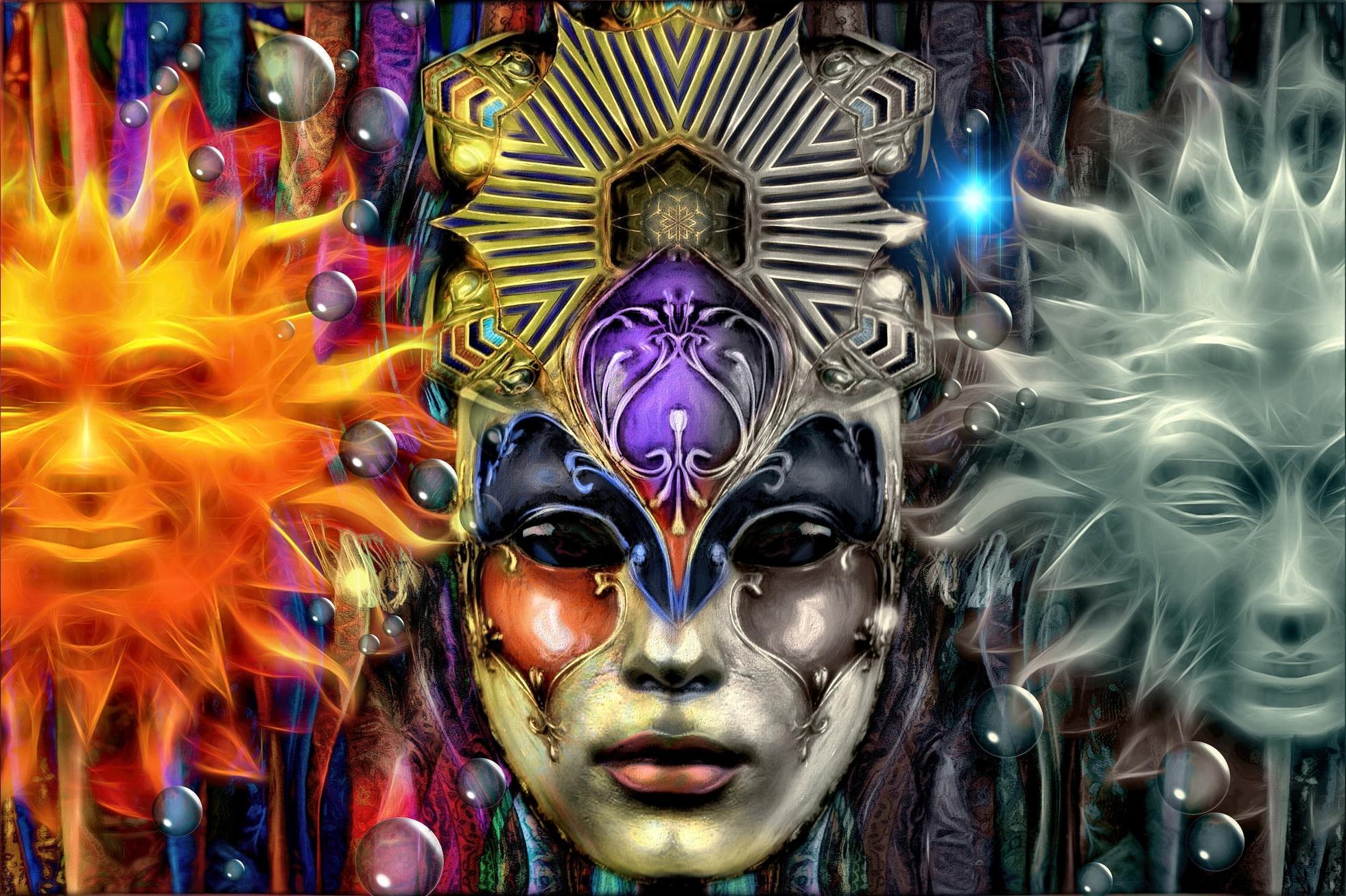 Обои Между солнцем и луной, маска, art