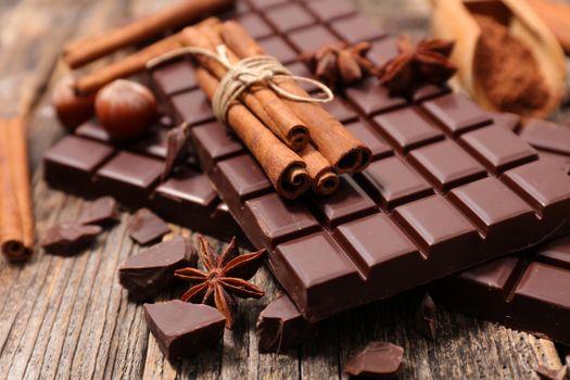 плитки, корица, сладкое, шоколад, лесные орехи