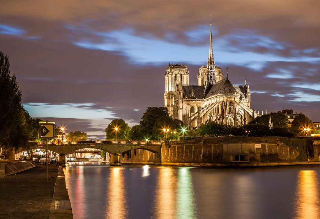 Фото бесплатно Paris, France, Notre Dame, Париж, Франция, Нотр-Дам, закат, город