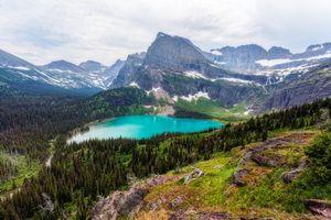 Фото бесплатно Glacier National Park, Grinnell Lake, горы