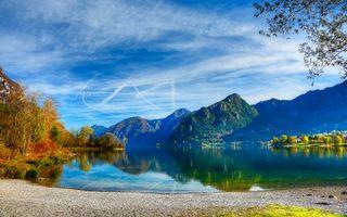 Photo free lake, houses, landscape