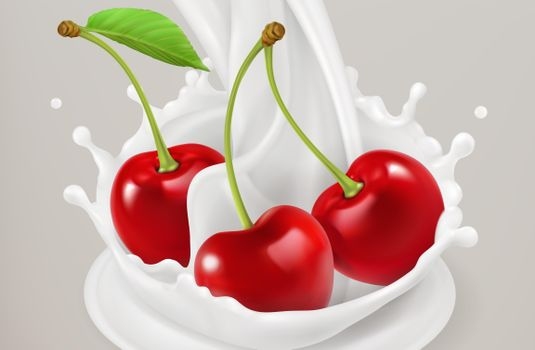 Photo free milk, cherry
