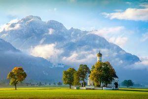 Обои Кальман, Швангау, Bavaria, Германия, горы, поля, деревья, церковь, пейзаж
