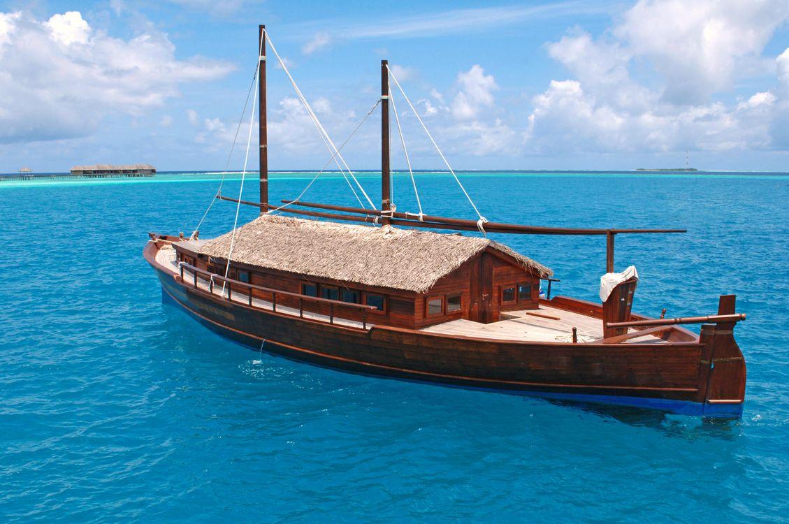 Фото бесплатно Мальдивы, море, лодка - на рабочий стол