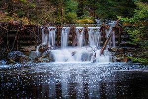 Бесплатные фото лес,деревья,запруда,водопад,водоём,пейзаж